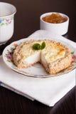 Gâteau au fromage de cottage, menthe décorée Photo libre de droits