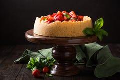 Gâteau au fromage de fraise avec le basilic Photo libre de droits