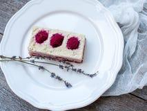 Gâteau au fromage de gâteau d'anarcadier et fraises crus de baies, cerises Image libre de droits