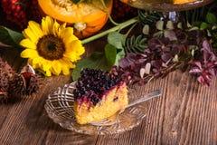 Gâteau au fromage de potiron d'automne avec des canneberges Image stock