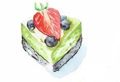 Gâteau au fromage de thé vert avec la baie Photographie stock