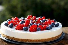 Gâteau au fromage de yaourt du 4 juillet de canneberge et de myrtille Photo libre de droits