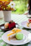 Gâteau au fromage et glace de plat avec l'écrimage de fruit. Images libres de droits