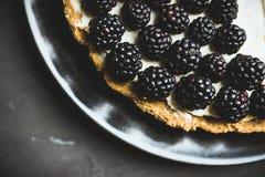 Gâteau au fromage frais de mûre sur le fond rustique photographie stock libre de droits