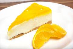 Gâteau au fromage orange Photos libres de droits