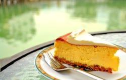 Gâteau au fromage par le lac Image stock