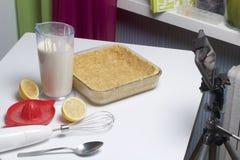 Gâteau au fromage sensible avec des myrtilles Photo stock