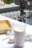 Gâteau au fromage sensible avec des myrtilles Ingrédients : support de biscuits, de citron et de remplissage sur la table Mélange Photo libre de droits