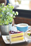Gâteau au fromage tellement doux de myrtille Photos libres de droits