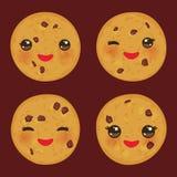 Gâteau aux pépites de chocolat de Kawaii réglé fraîchement cuit au four d'isolement sur le fond brun Visage mignon avec les joues illustration libre de droits