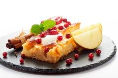 Gâteau aux pommes avec des baies de crème, de confiture et de forêt Images stock