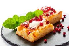 Gâteau aux pommes avec des baies de crème, de confiture et de forêt Photos stock