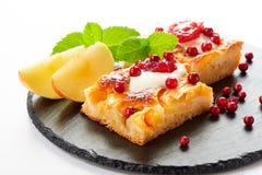 Gâteau aux pommes avec des baies de crème, de confiture et de forêt Photographie stock libre de droits