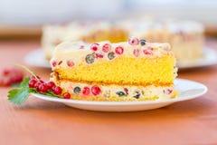 Gâteau avec de la crème et les groseilles rouges Image libre de droits