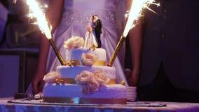 Gâteau avec des feux d'artifice