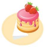 Gâteau avec des fraises Image libre de droits