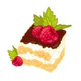 Gâteau avec des framboises et des feuilles en bon état Photo libre de droits