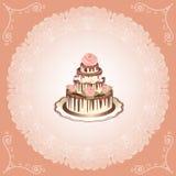 Gâteau avec des roses Images libres de droits