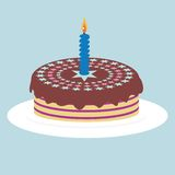 Gâteau avec la bougie Image libre de droits