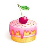 Gâteau avec la cerise illustration stock