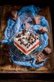 Gâteau avec la gelée, les frites de chocolat et les fruits image libre de droits