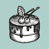 gâteau avec le croquis de vecteur de cerises illustration stock