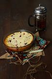 Gâteau avec le fromage blanc Photographie stock