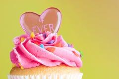 Gâteau avec le givrage et le coeur roses Photographie stock libre de droits