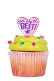 Gâteau avec le givrage et le message verts image stock