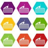 Gâteau avec le hexahedron réglé de couleur d'icône de cerises illustration stock