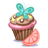 Gâteau avec le papillon Images libres de droits