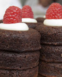 Gâteau avec les framboises fraîches Photo stock