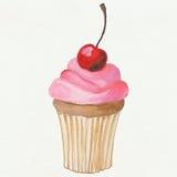 Gâteau avec une cerise Image libre de droits