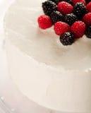 Gâteau blanc avec des framboises et des mûres Photos libres de droits