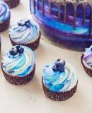 Gâteau bleu de fête lumineux avec les baies et le chocolat et les petits gâteaux avec de la crème Photos stock