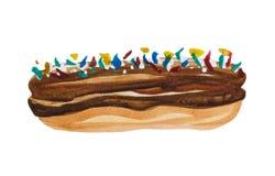 Gâteau brassé stylisé par aquarelle illustration libre de droits