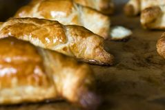 Gâteau brun cuit au four frais ou tarte brillant et délicieux de croissant Photo libre de droits