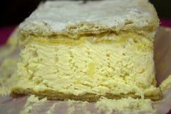 Gâteau carré de crème anglaise Photo libre de droits