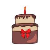 Gâteau coloré d'anniversaire avec une bougie Photos libres de droits
