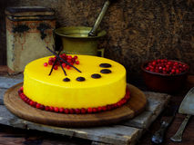 Gâteau couvert de revêtement de miroir, décoré des canneberges et du décor de chocolat Gâteau de miel russe moderne Images libres de droits