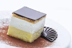 Gâteau crème avec la poudre de chocolat et de cacao du plat blanc, dessert doux, pâtisserie, photographie pour la boutique Photographie stock libre de droits