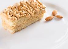 Gâteau crémeux du plat blanc images stock
