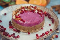 Gâteau cru fait maison Durcissez sans gluten, farine, oeufs, beurre et sans traitement thermique Bar de forme physique de céréale Images stock