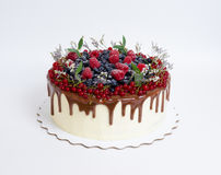 Gâteau délicieux d'égouttement de couleur de chocolat avec des baies Images libres de droits