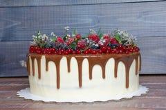 Gâteau délicieux d'égouttement de couleur de chocolat avec des baies Photographie stock libre de droits