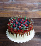 Gâteau délicieux d'égouttement de couleur de chocolat avec des baies Photo stock