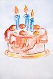 Gâteau délicieux d'aquarelle d'illustration avec la crème fouettée et trois bougies Image stock