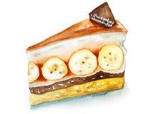 Gâteau délicieux de caramel de banane de banoffee Images libres de droits