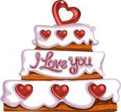 Gâteau délicieux de jour du `s de Valentine avec des coeurs de sucre illustration stock