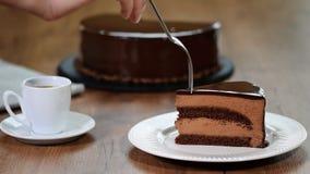 Gâteau délicieux de mousse de chocolat Consommation d'un morceau de gâteau de mousse de chocolat banque de vidéos